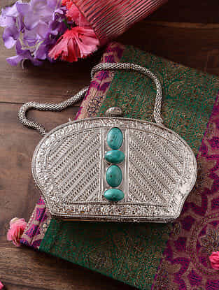 Silver Handcrafted Metal Clutch with Gemstone