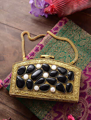 Gold Handcrafted Metal Clutch with Gemstone
