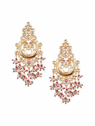 Red Gold Tone Kundan Earrings With Pearls