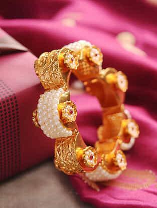 White Gold Tone Pearl BEaded Hinged Bangle (Bangle Size- 2/4)