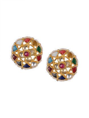 Multicolored Navratan Kundan Earrings