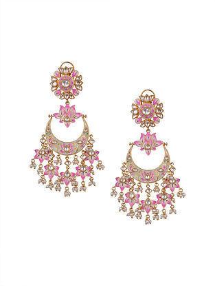 Pink Gold Tone Kundan Enameled Earrings