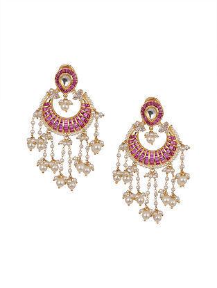 Red Gold Tone Jadau Chandbali Earrings With Pearls