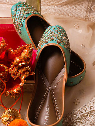 Turquoise Hand Embroidered Genuine Leather Juttis
