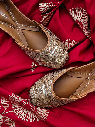 Gold Hand Embroidered Genuine Leather Juttis