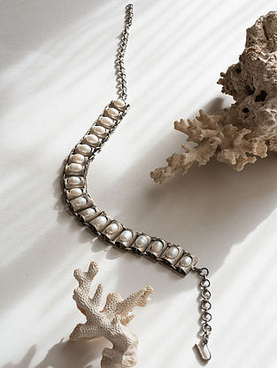 Tribal Silver Choker Necklace with Fresh Water Pearls