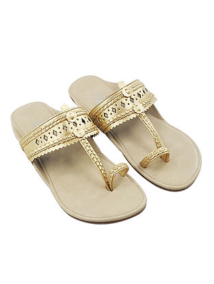 Light Gold Handcrafted Faux Leather Kolhapuri Flats