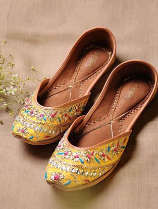 Yellow Hand Embroidered Faux Leather Juttis