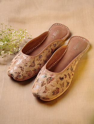 Beige Hand Embroidered Faux Leather Mojaris