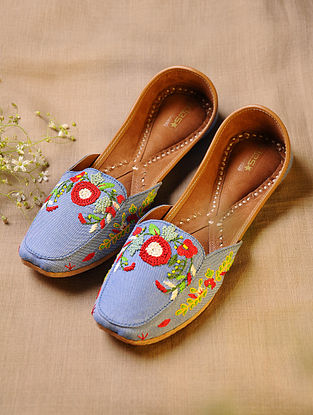 Blue Hand Embroidered Faux Leather Loafer Juttis