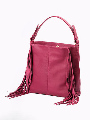 Pink Handcrafted Genuine Leather Tote Bag