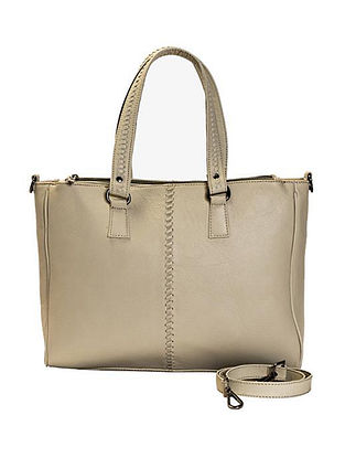 Cream Handcrafted Genuine Leather Tote Bag