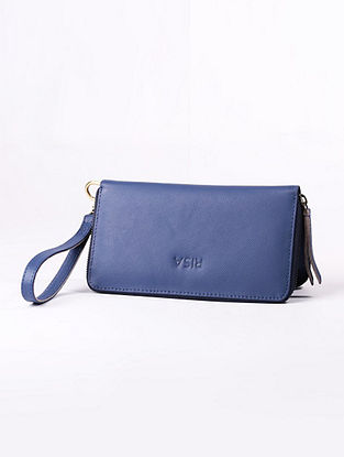 Blue Handcrafted Genuine Leather Wallet