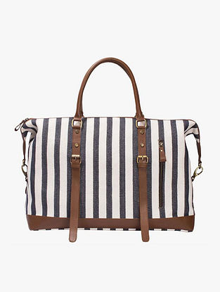 White Blue Handcrafted Genuine Leather Luggage Bag