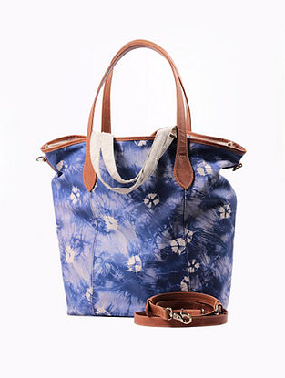 Blue Handcrafted Genuine Leather Tote Bag