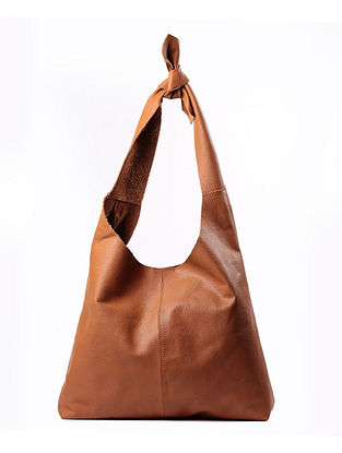 Tan Handcrafted Genuine Leather Tote Bag