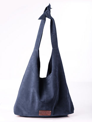 Blue Handcrafted Suede Tote Bag