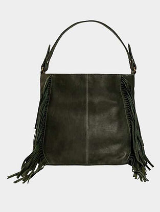 Green Handcrafted Genuine Leather Tote Bag