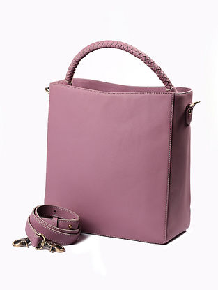 Purple Handcrafted Genuine Leather Tote Bag