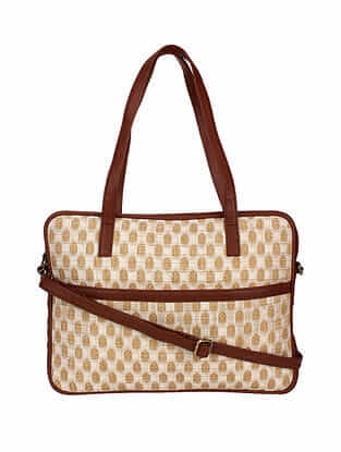 Cream Brown Handcrafted Cotton Tote Bag