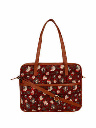Maroon Handcrafted Cotton Tote Bag