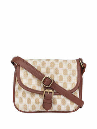 Cream Brown Handcrafted Cotton Sling Bag