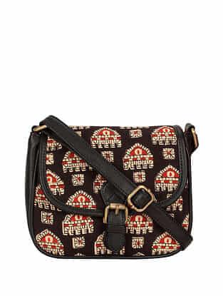 Black Red Handcrafted Cotton Sling Bag