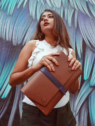Tan Handcrafted Genuine Leather Clutch