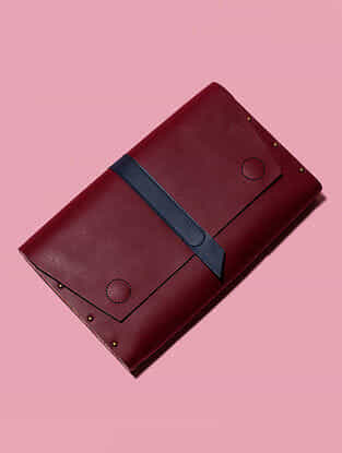 Red Handcrafted Genuine Leather Clutch