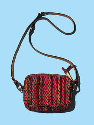 Red Handwoven Scrap Genuine Leather Sling Bag
