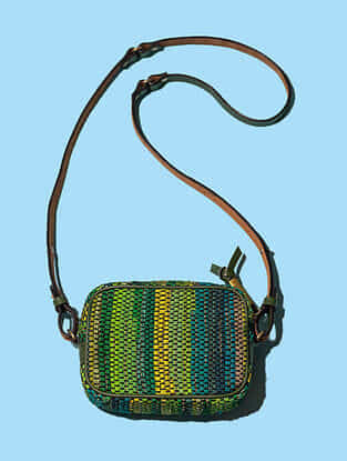Green Handwoven Scrap Genuine Leather Sling Bag