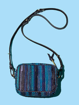 Blue Handwoven Scrap Genuine Leather Sling Bag
