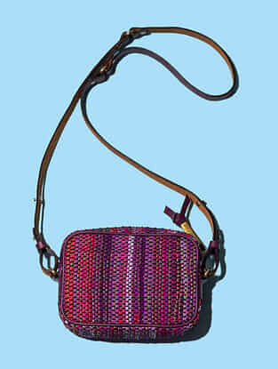 Purple Handwoven Scrap Genuine Leather Sling Bag