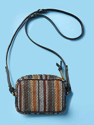 Multicolored Handwoven Scrap Genuine Leather Sling Bag