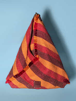 Multicolored Handwoven Acrylic Genuine Leather Tote Bag