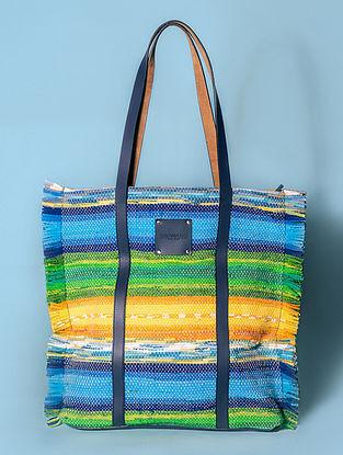 Multicolored Handwoven Scrap Genuine Leather Tote Bag