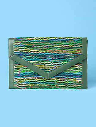 Green Handwoven Scrap Genuine Leather Laptop Bag
