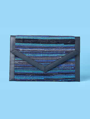Blue Handwoven Scrap Genuine Leather Laptop Bag