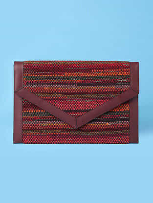 Red Handwoven Scrap Genuine Leather Laptop Bag