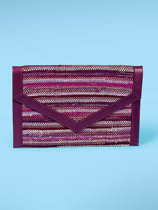 Purple Handwoven Scrap Genuine Leather Laptop Bag