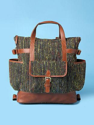 Black Tan Handwoven Bhagalpuri Silk Genuine Leather Backpack