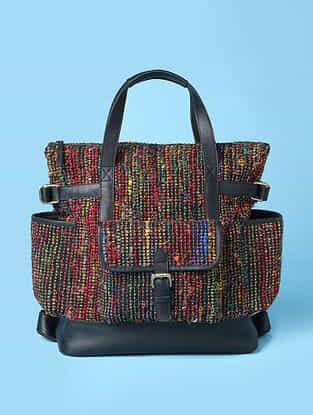 Multicolored Handwoven Bhagalpuri Silk Genuine Leather Backpack