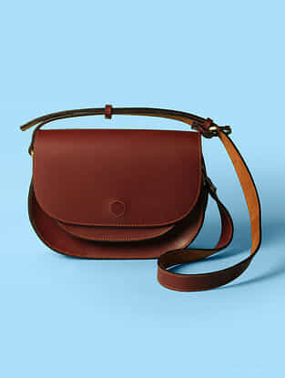 Red Handcrafted Genuine Genuine Leather Sling Bag