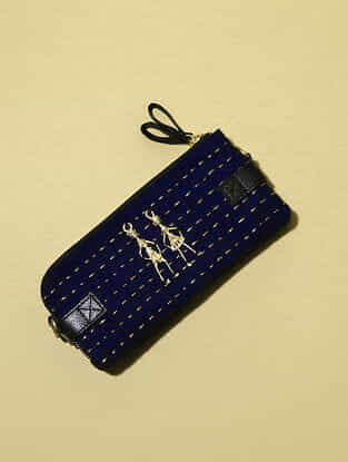Navy Blue Handcrafted Genuine Leather Sling Bag