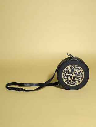 Black Handcrafted Genuine Leather Sling Bag
