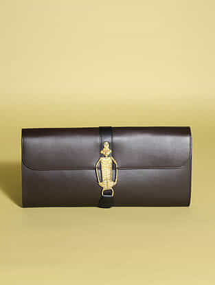 Brown Handcrafted Genuine Leather Clutch