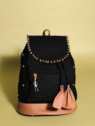 Black Handcrafted Genuine Leather Backpack
