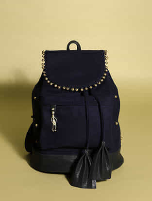 Blue Handcrafted Genuine Leather Backpack