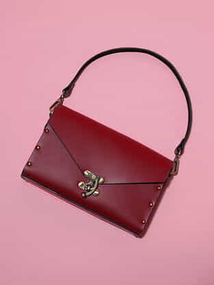 Red Handcrafted Genuine Leather Sling Bag