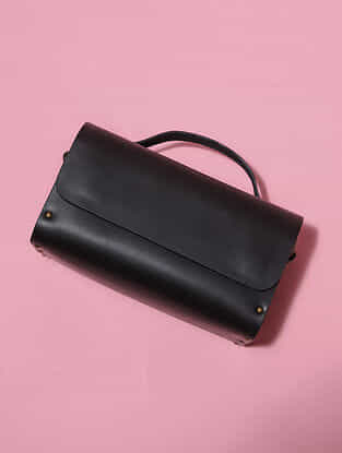 Black Handcrafted Genuine Leather Sling Bag